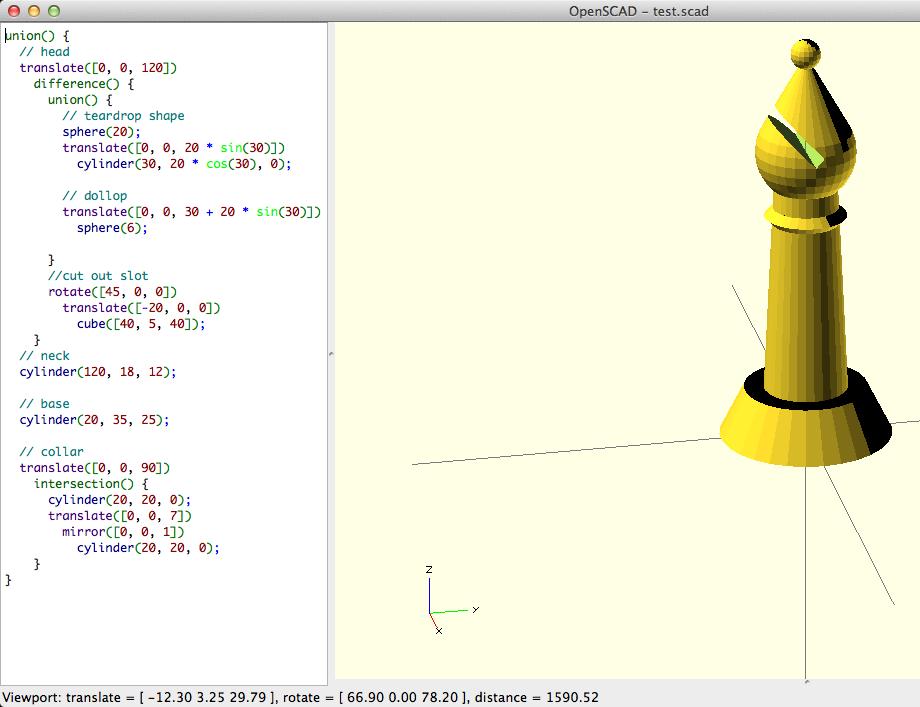 OpenSCAD code voorbeeld