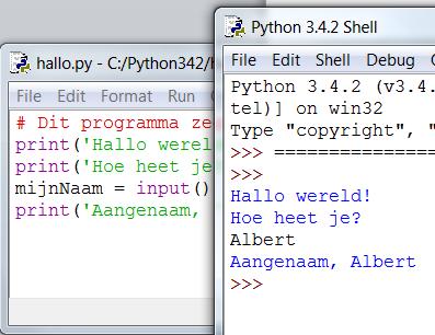 Python simpel code voorbeeld
